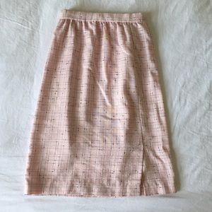 Vintage 1960s Textured Pink & Black Pencil Skirt